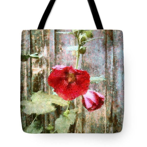 Tote Bag featuring the photograph Hollyhock On Weathered Wood - Remember The Days by Janine Riley