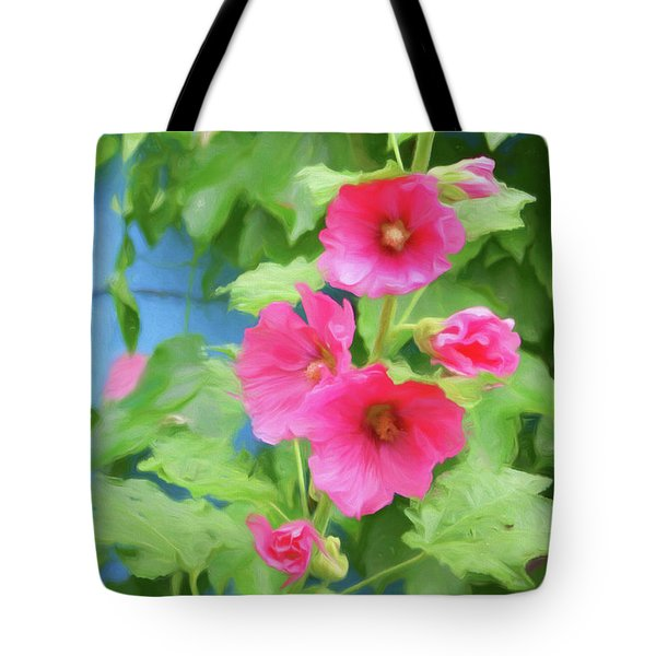 Tote Bag featuring the photograph Hollyhocks - 1 by Nikolyn McDonald