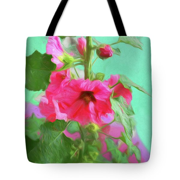 Tote Bag featuring the photograph Hollyhocks - 2  by Nikolyn McDonald