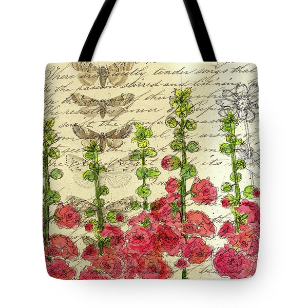 Tote Bag featuring the drawing Hollyhocks And Butterflies  by Cathie Richardson