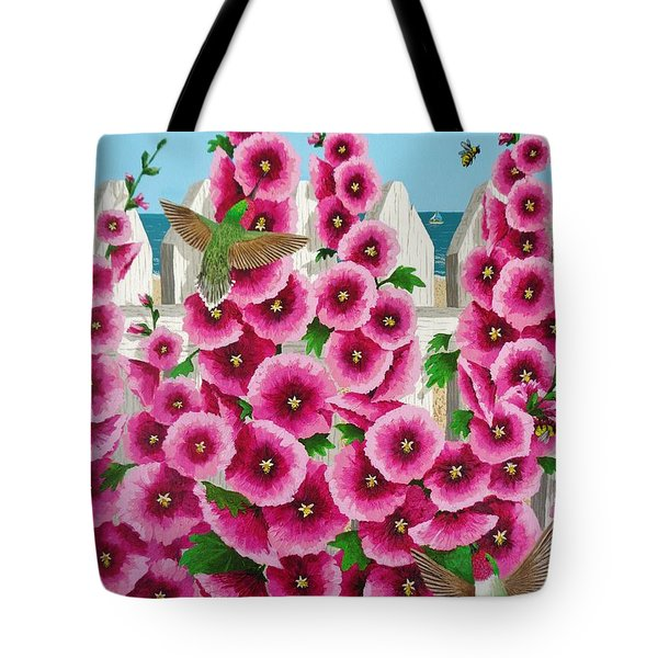 Tote Bag featuring the painting Hollyhocks And Humming Birds by Katherine Young-Beck