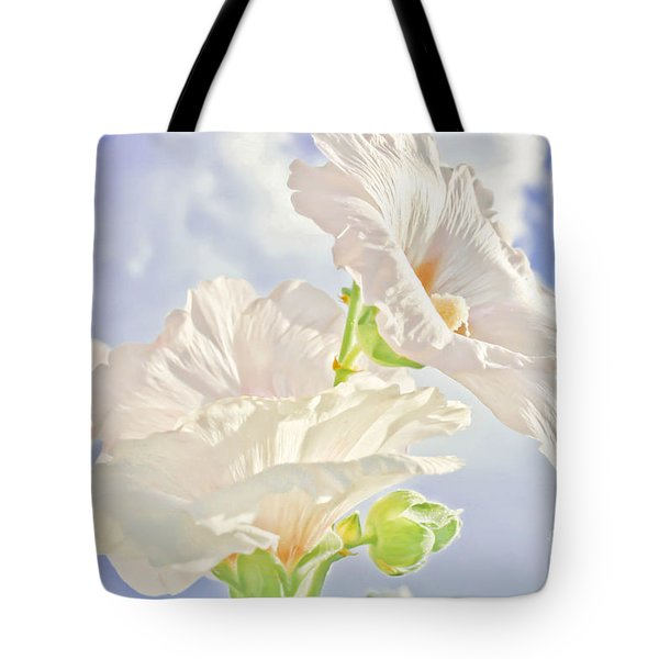 Hollyhocks And Sky Tote Bag