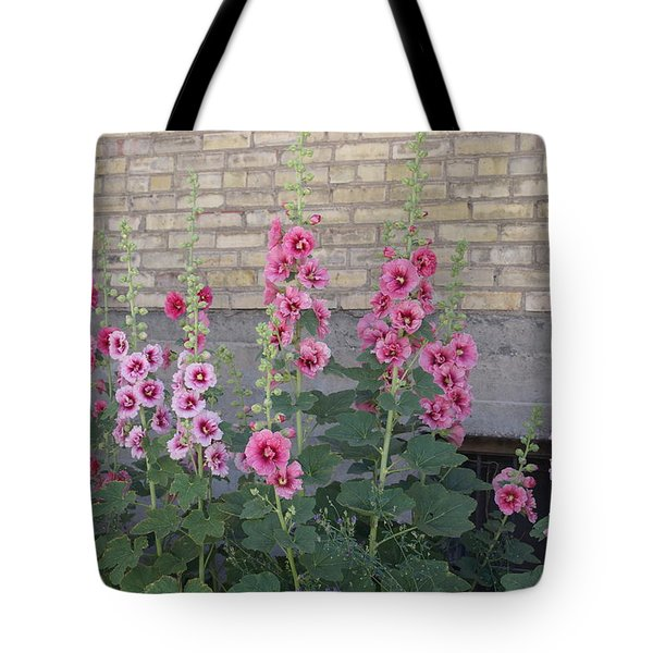 Tote Bag featuring the photograph Hollyhocks by Cynthia Powell