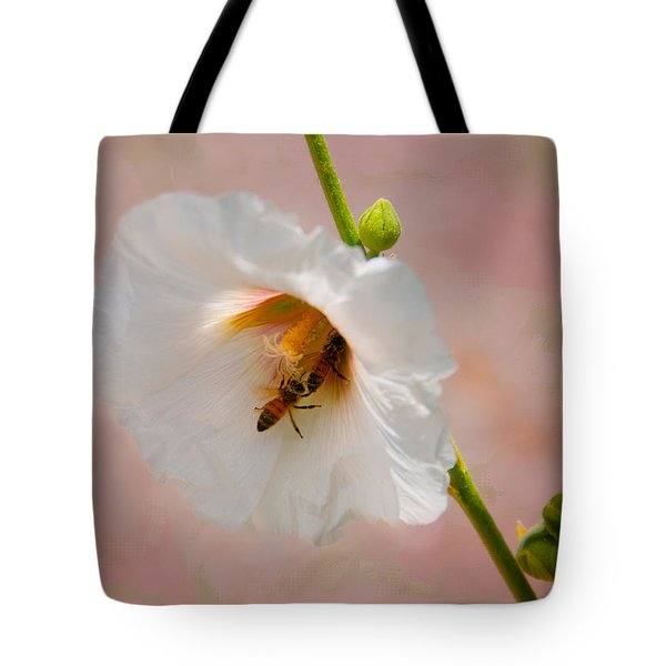 Hollyhocks For Dinner Tote Bag by Carolyn Dalessandro