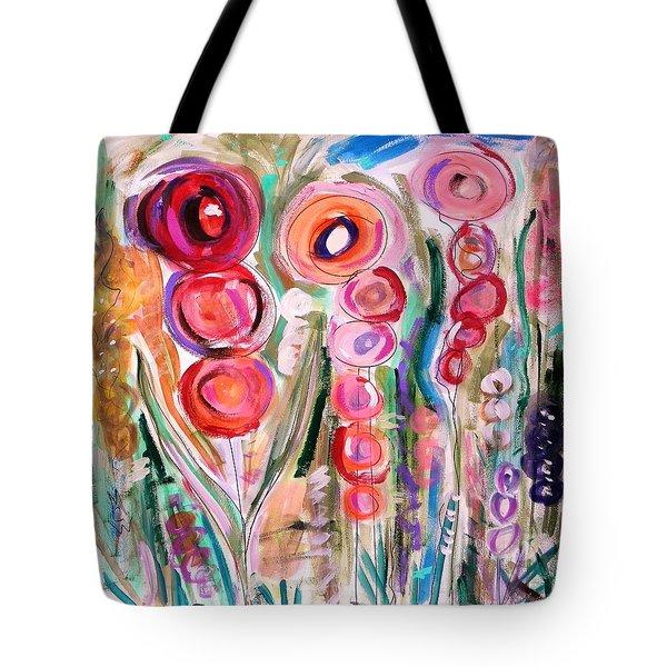 Hollyhocks Of The Garden Tote Bag by Mary Carol Williams