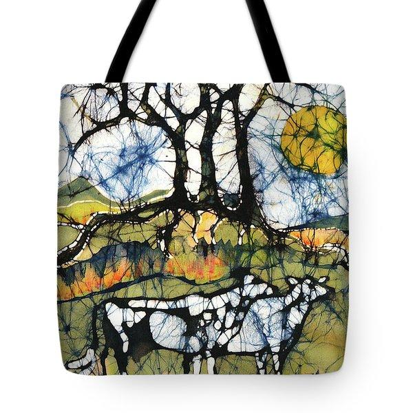 Holsiein Cows Below Autumn Trees Tote Bag