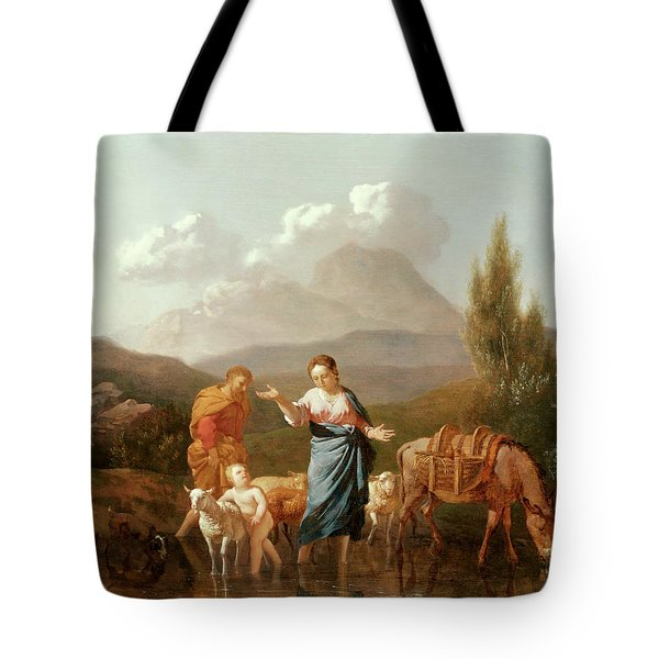 Holy Family At A Stream Tote Bag by Karel Dujardin