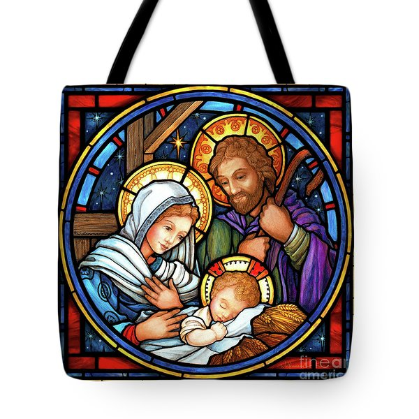 Holy Family Stained Glass Tote Bag