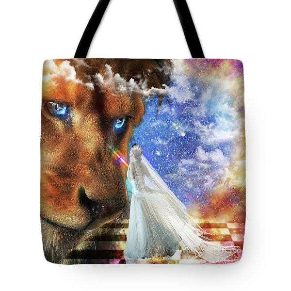 Tote Bag featuring the digital art  Divine Perspective by Dolores Develde