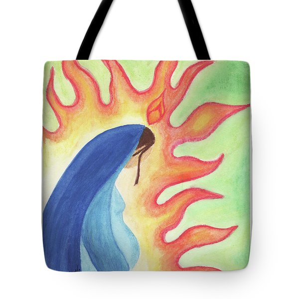 Tote Bag featuring the drawing Holy Mary by Betsy Hackett
