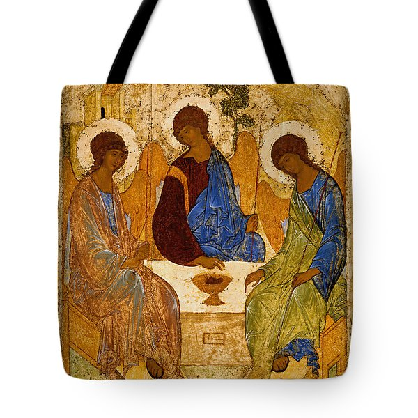 Tote Bag featuring the painting Holy Trinity. Troitsa by Andrei Rublev