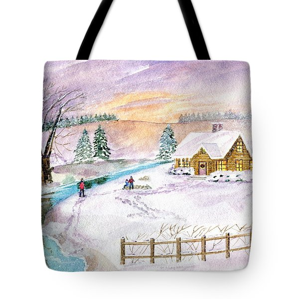 Tote Bag featuring the painting Home For Christmas by Melly Terpening