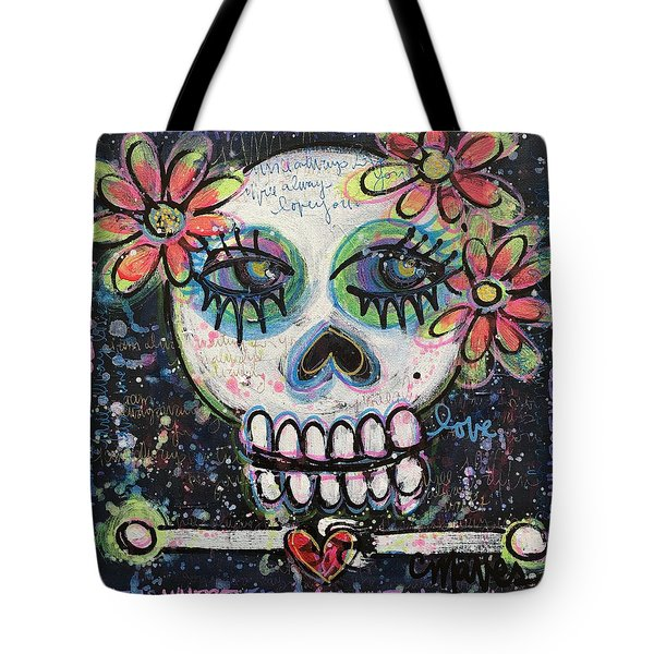 Home Is Wherever I Am With You An Abstract Skull Painting About Love Tote Bag by Laurie Maves ART