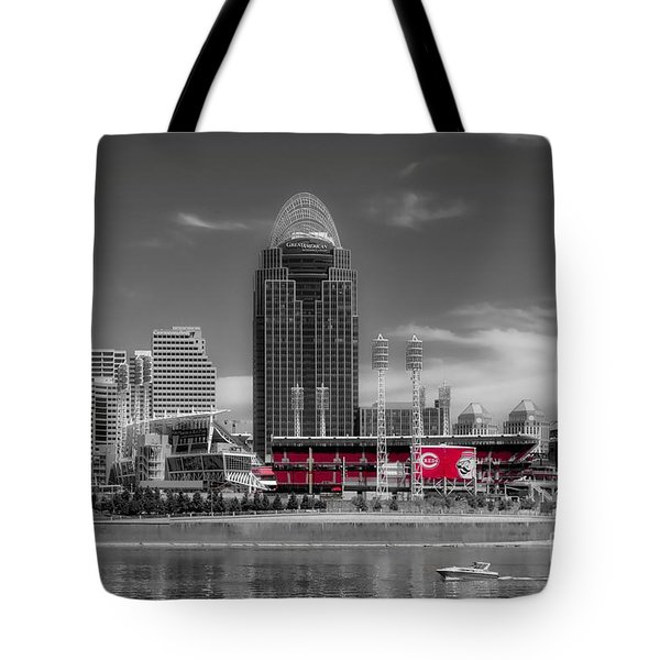 Tote Bag featuring the photograph Home Of The Cincinnati Reds by Mel Steinhauer