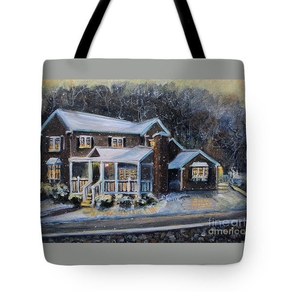 Home On A Snowy Eve Tote Bag by Rita Brown