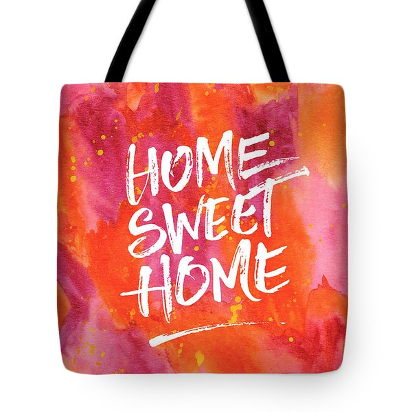 Home Sweet Home Handpainted Abstract Orange Pink Watercolor Tote Bag