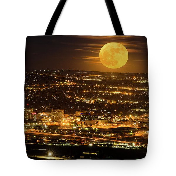 Home Sweet Hometown Bathed In The Glow Of The Super Moon  Tote Bag
