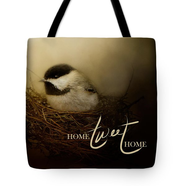 Home Tweet Home With Words Tote Bag by Jai Johnson