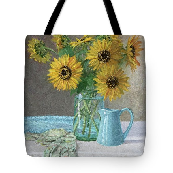 Homegrown - Sunflowers In A Mason Jar With Gardening Gloves And Blue Cream Pitcher Tote Bag