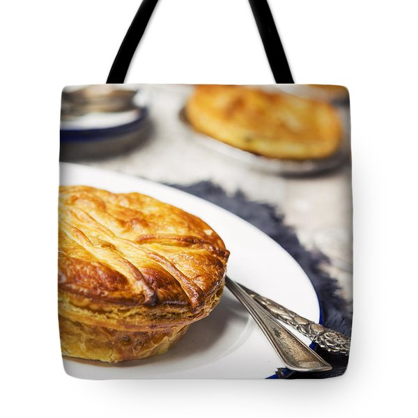 Homemade Meat Pie And Beer On A Rustic Table Tote Bag