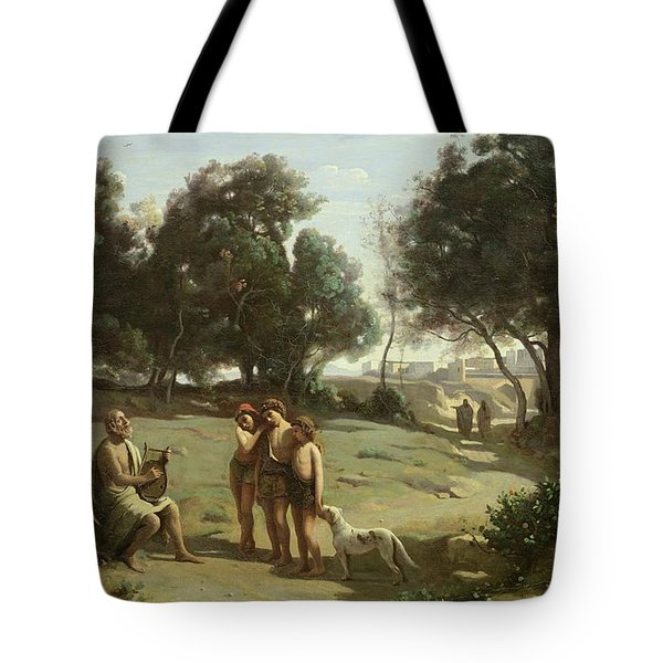 Homer And The Shepherds In A Landscape Tote Bag by Jean Baptiste Camille Corot