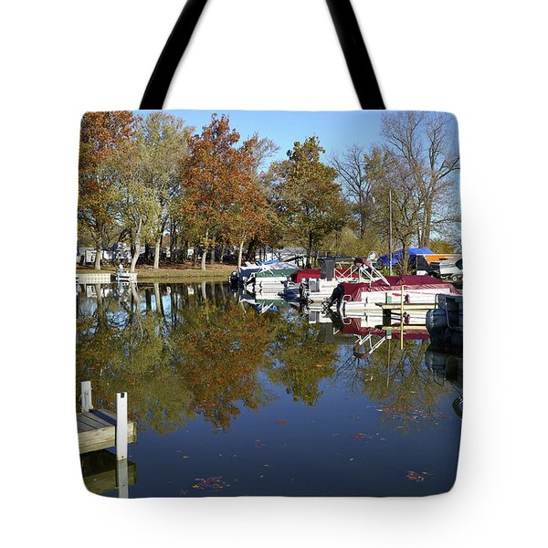 Hometown Marina In Autumn Tote Bag by Scott Kingery