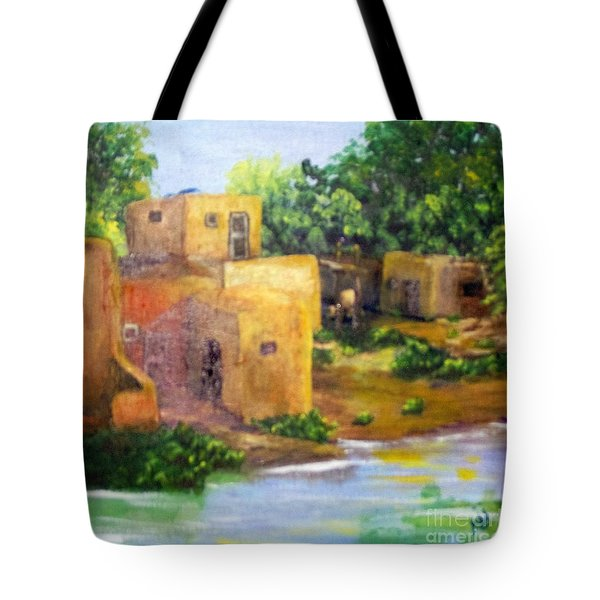 Tote Bag featuring the painting Hometown by Saundra Johnson