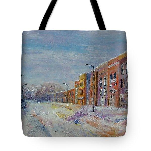 Tote Bag featuring the painting Hometown Winter by Susan DeLain