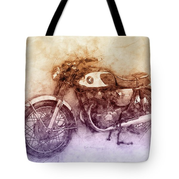 Honda Cb77 - Honda Motorcycles 2 - Motorcycle Poster - Automotive Art Tote Bag