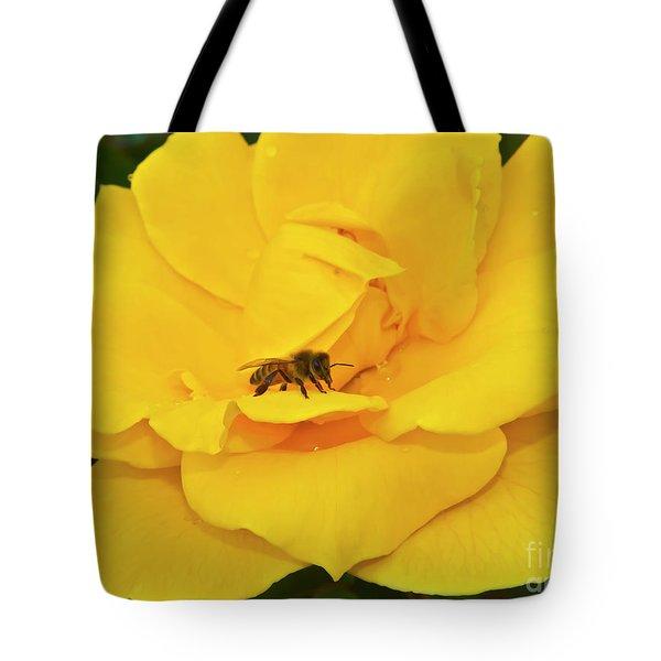 Honey Bee And Floribunda Tote Bag