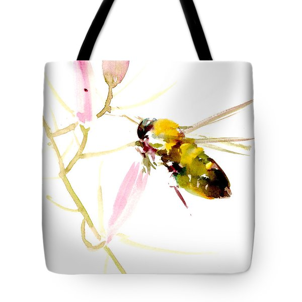 Honey Bee And Pink Flower Tote Bag