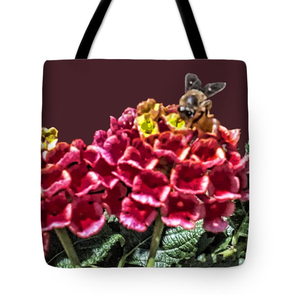 Honey Bee On Flower Tote Bag by Daniel Hebard