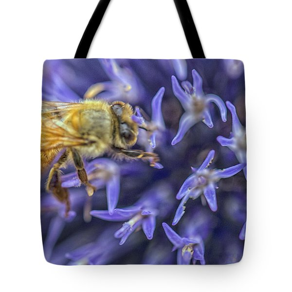 Tote Bag featuring the photograph Honey Bee On Globe Allium by Constantine Gregory