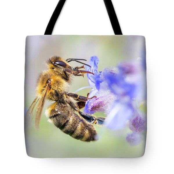 Honey Bee On Russian Sage Tote Bag