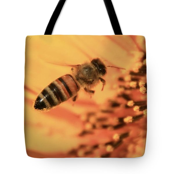 Tote Bag featuring the photograph Honeybee And Sunflower by Chris Berry
