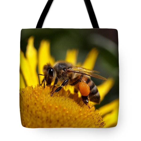 Tote Bag featuring the photograph Honeybee At Work by Rona Black