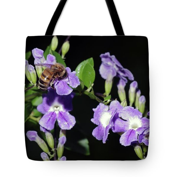 Tote Bag featuring the photograph Honeybee On Golden Dewdrop II by Richard Rizzo