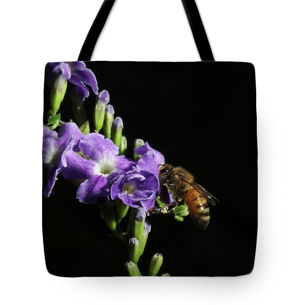 Tote Bag featuring the photograph Honeybee On Golden Dewdrop by Richard Rizzo