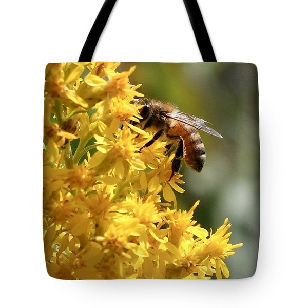 Honeybee On Showy Goldenrod Tote Bag