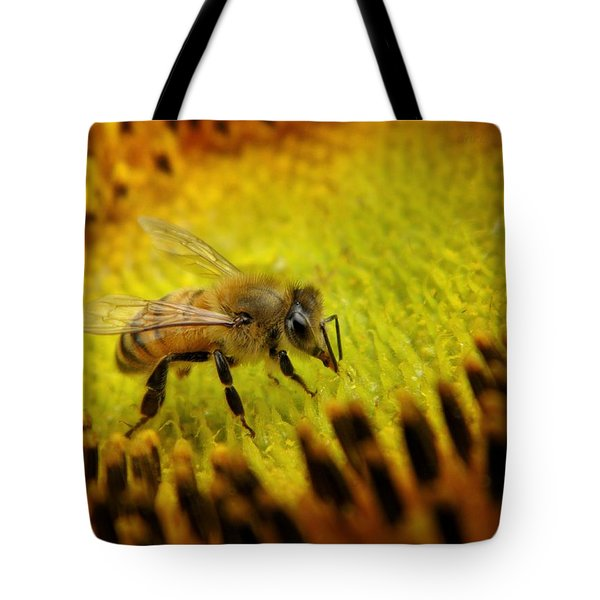 Tote Bag featuring the photograph Honeybee On Sunflower by Chris Berry