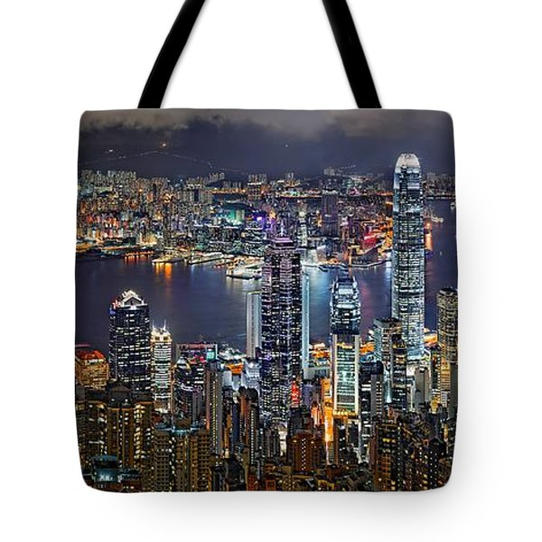 Hong Kong At Dusk Tote Bag by Jeff S PhotoArt