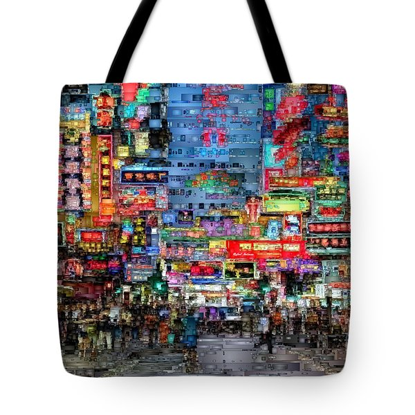 Hong Kong City Nightlife Tote Bag