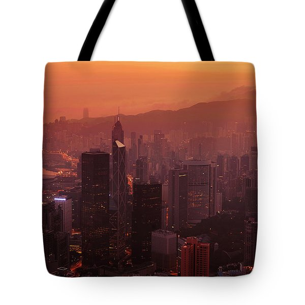 Tote Bag featuring the photograph Hong Kong City View From Victoria Peak by Pradeep Raja Prints