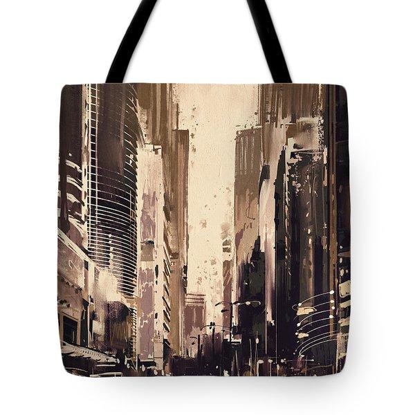 Hong-kong Cityscape Painting Tote Bag