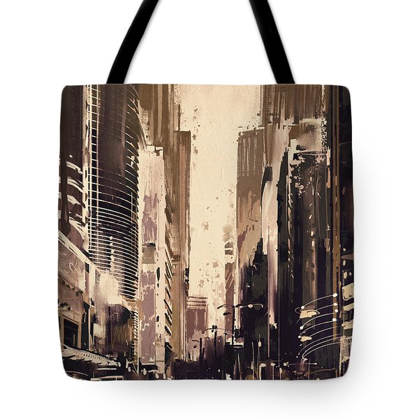Hong-kong Cityscape Painting Tote Bag
