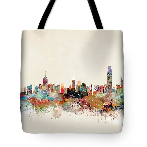 Tote Bag featuring the painting Hong Kong Skyline by Bri B