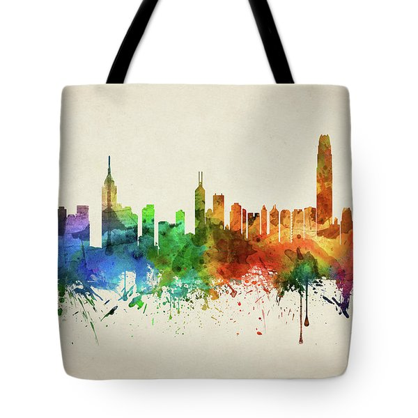 Hong Kong Skyline Chhk05 Tote Bag by Aged Pixel