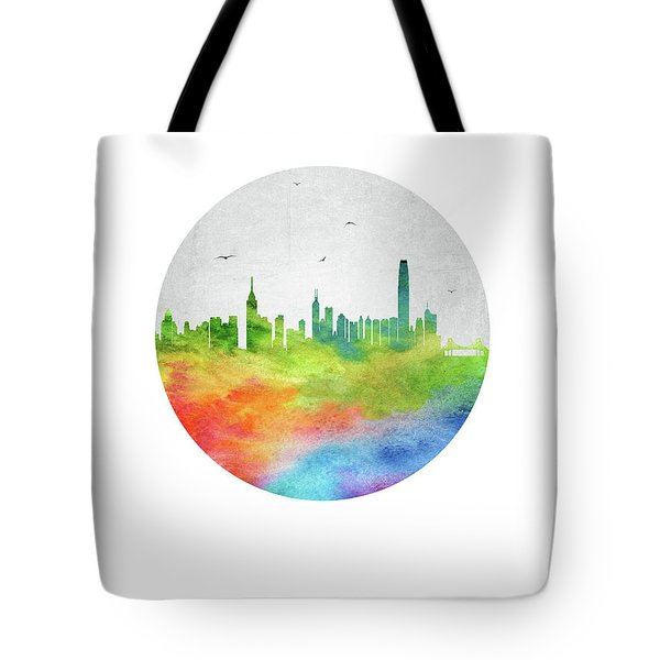 Hong Kong Skyline Chhk20 Tote Bag by Aged Pixel