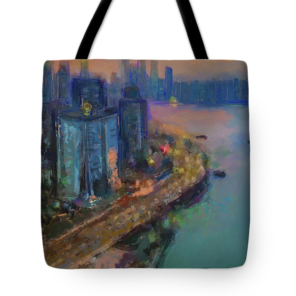 Hong Kong Skyline Painting Tote Bag
