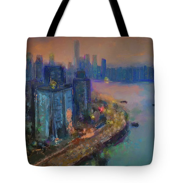 Hong Kong Skyline Painting Tote Bag